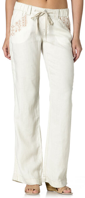 Miss Me Women's Aztec Embroidered Field Day Pants, Cream, hi-res