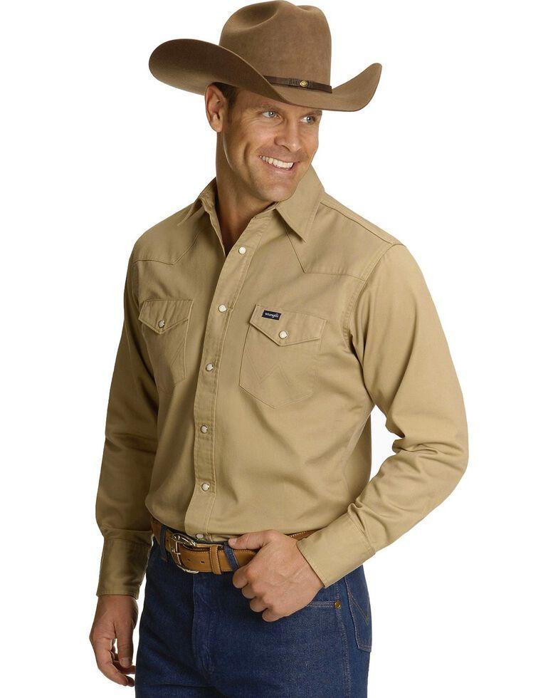 Wrangler Men's Solid Twill Cowboy Cut Long Sleeve Work Shirt - Tall, Khaki, hi-res