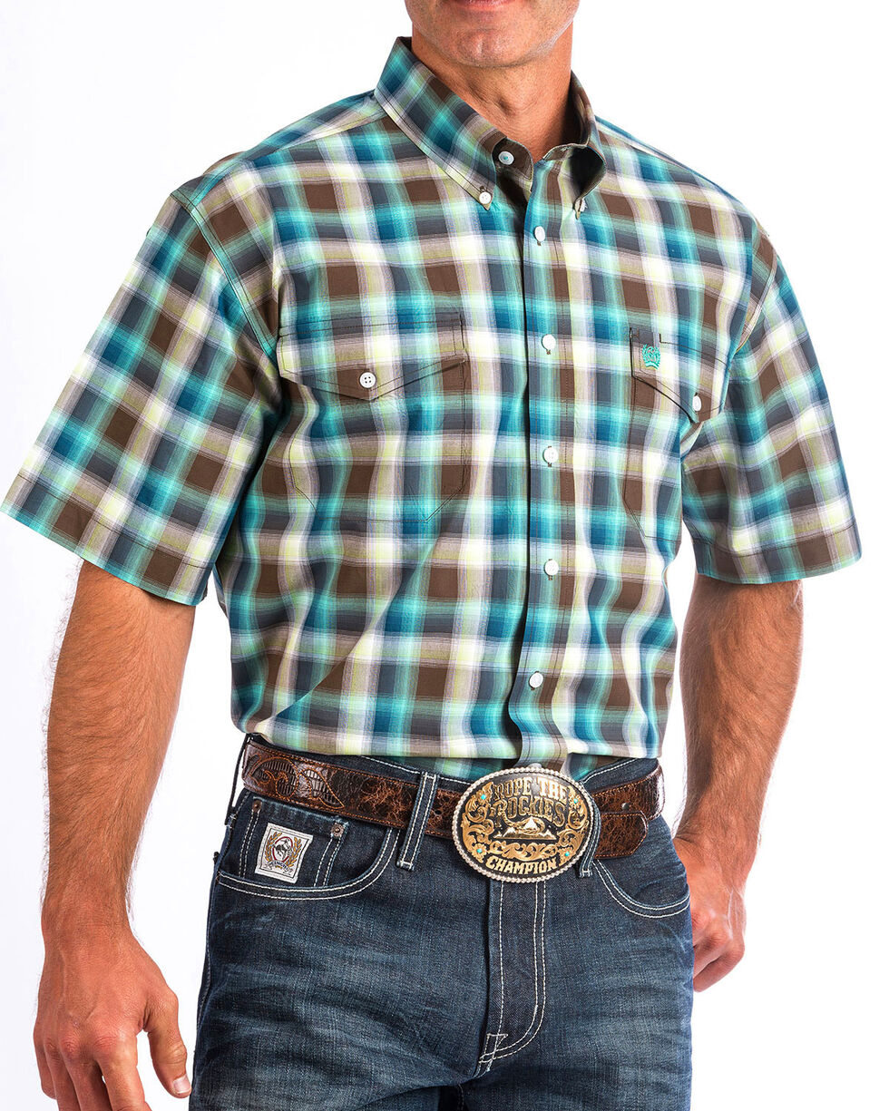 Cinch Men's Turquoise Plaid Short Sleeve Western Shirt , Multi, hi-res