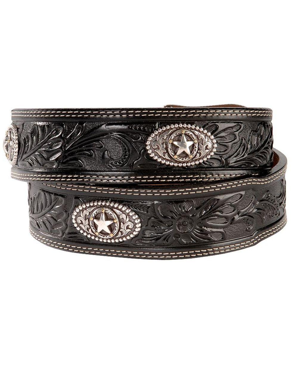 Justin Ranch Star Concho Belt, Black, hi-res