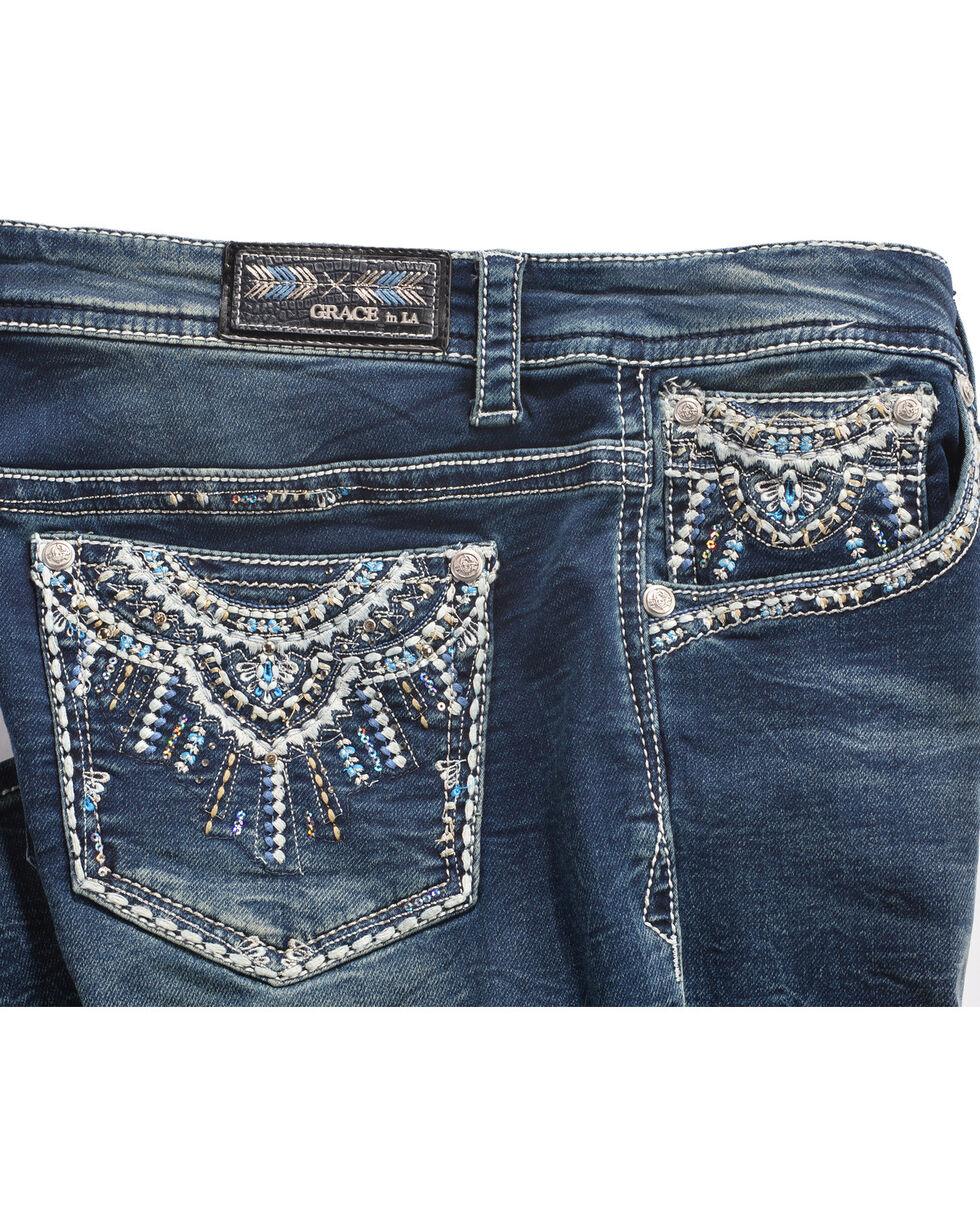 Grace in LA Women's Medallion Pocket Boot Cut Jeans - Plus Size, Indigo, hi-res