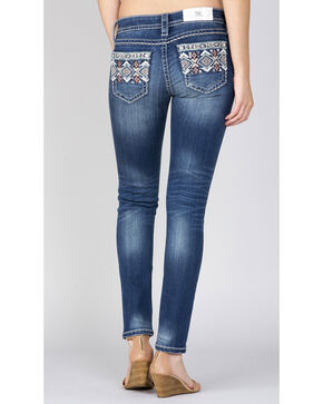 Miss Me Indigo Embroidered Pocket Ankle Jeans - Straight, Indigo, hi-res