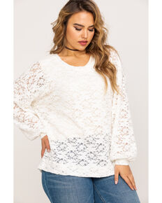 c48ca164d3d Eyeshadow Womens Flocked Lace Pullover Top - Plus