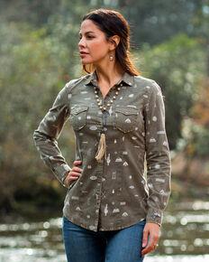 Ryan Michael Women's Sage Motif Print Western Shirt  RM PRINT MOTIF SHIRT, Sage, hi-res