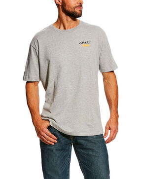 Ariat Men's Rebar Cotton Strong Short Sleeve Logo Crew T-Shirt , Heather Grey, hi-res