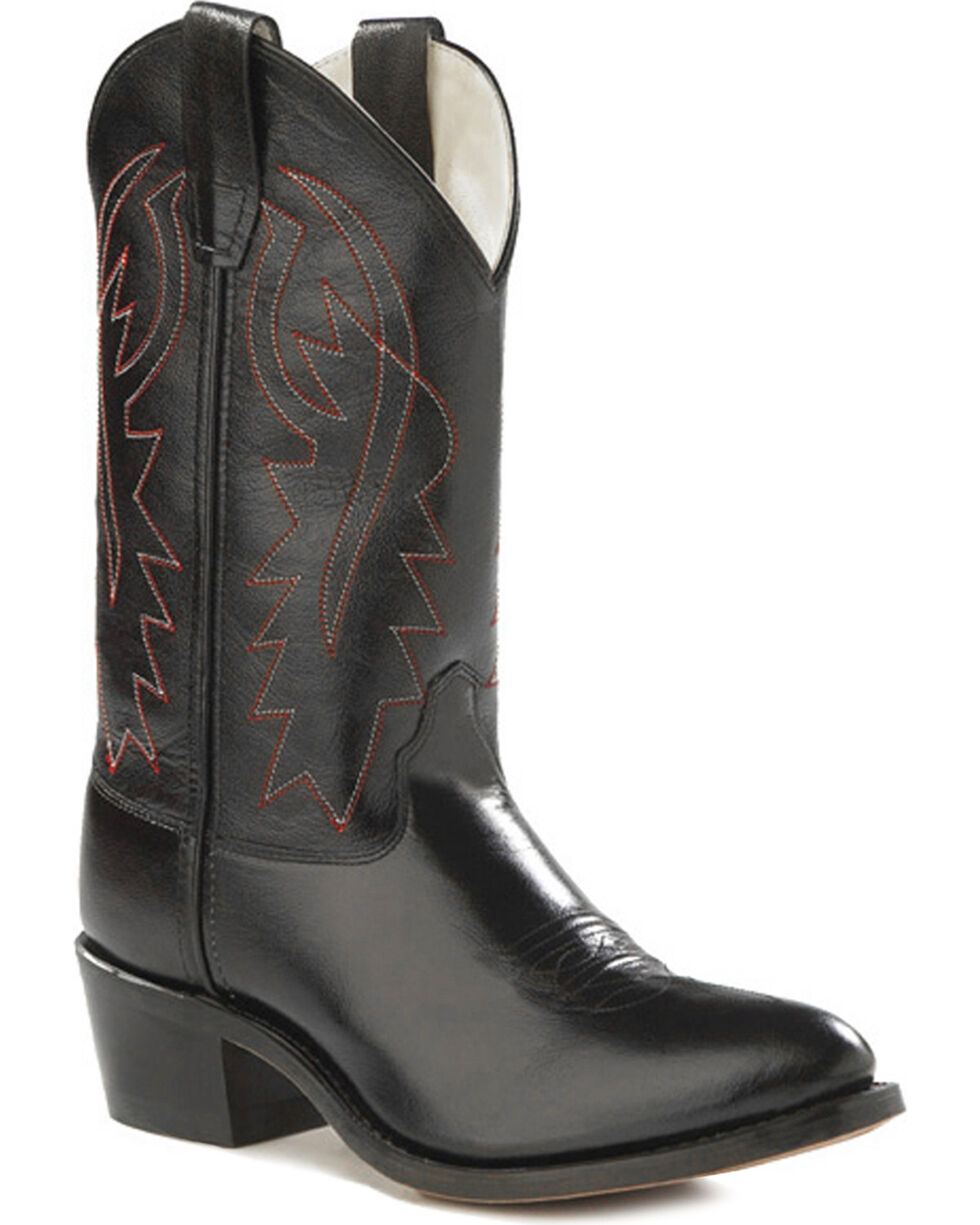 Old West Youth Boys' Black Red Stitch Western Boots - Pointed Toe , Black, hi-res