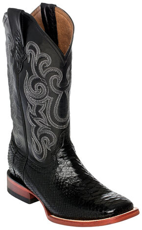 Ferrini Men's Python Cowboy Boots - Square Toe, Black, hi-res