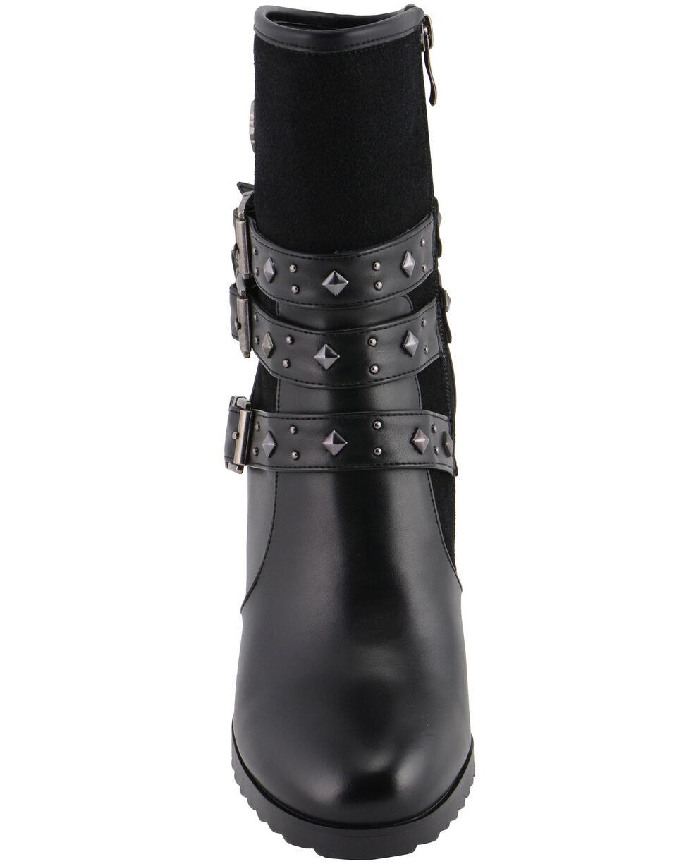 Milwaukee Leather Women's Block Heel Triple Strap Riding Boots - Round Toe, Black, hi-res