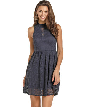 Rock & Roll Cowgirl Women's Navy High Neck Lace Dress , Navy, hi-res