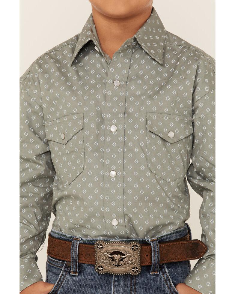Rough Stock By Panhandle Boys' Fair Oaks Geo Print Long Sleeve Snap Western Shirt , Grey, hi-res
