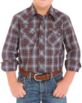Wrangler Boys' Western Plaid Long Sleeve Shirt, Brown, hi-res