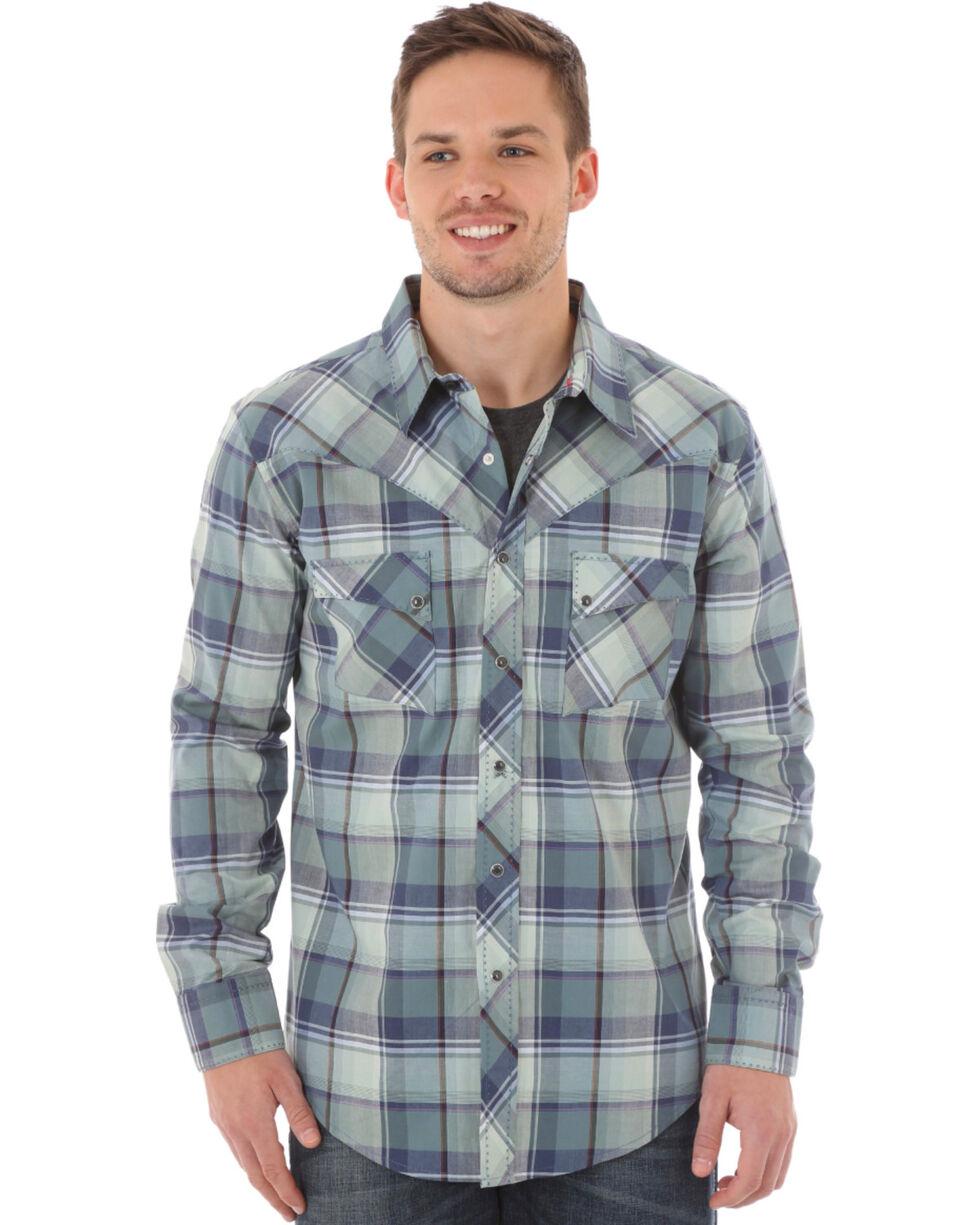Wrangler Men's Blue Plaid Western Jean Shirt, Blue, hi-res