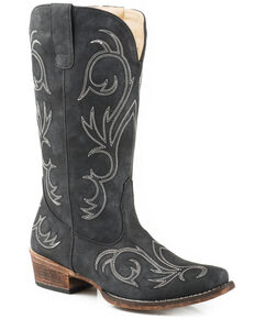13459ba9788 Roper Womens Riley Faux Leather Western Boots - Snip Toe, Black, hi-res