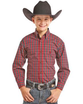 Panhandle Boys' Burgundy Check Button-Down Shirt , Burgundy, hi-res