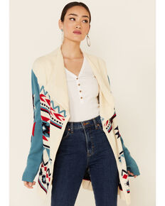 Wrangler Women's Americana Aztec Print Draped Long Sleeve Cardigan, White, hi-res