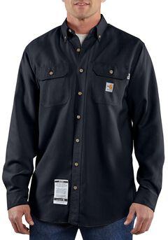 Carhartt Flame Resistant Work Shirt, Navy, hi-res