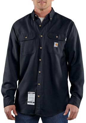 Carhartt Flame Resistant Work Shirt - Big & Tall, Navy, hi-res