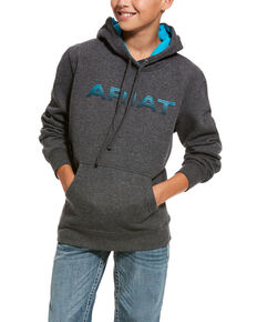 Ariat Boys' Charcoal Logo Brushed Fleece Hooded Sweatshirt , Charcoal, hi-res