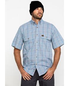 Wrangler Riggs Men's Navy Plaid Short Sleeve Work Shirt - Tall , Navy, hi-res