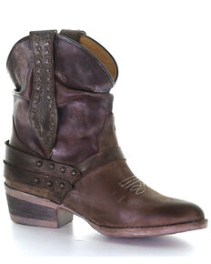 Circle G Women's Slouch & Studs Western Booties - Round Toe, Brown, hi-res