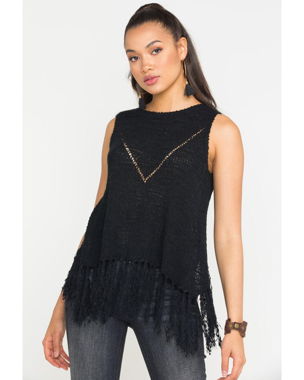 Miss Me Women's Black Cool Off Knit Top , Black, hi-res