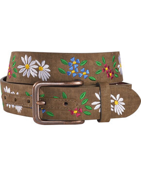 Shyanne Women's Floral Embroidered Belt, Brown, hi-res