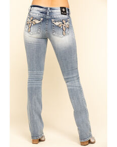 Miss Me Women's Light Wash Cross Wing Bootcut Jeans, Blue, hi-res