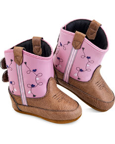 Old West Infant Girls' Pink Poppets Boots - Round Toe , Pink, hi-res