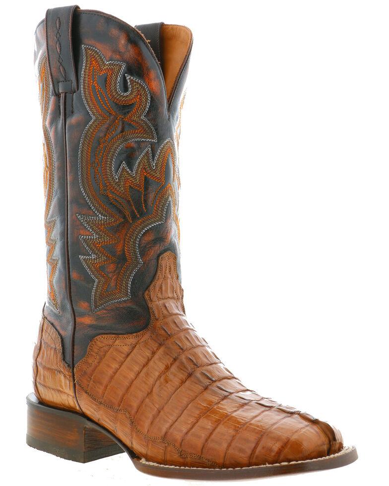 El Dorado Men's Caiman Tail Western Boots - Wide Square Toe, Tan, hi-res