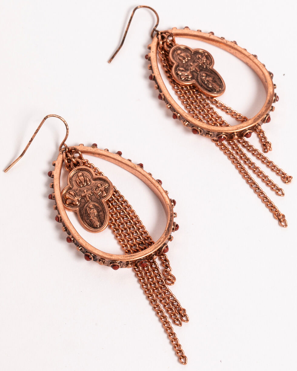 Shyanne Women's Texas Rose Teardrop Hoop Earrings with Fringe, Rust Copper, hi-res