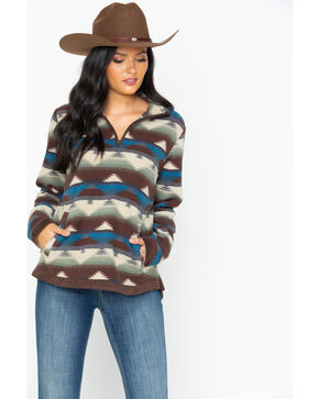 Outback Trading Co Women's Creme Aztec Kate Fleece Pullover, Cream, hi-res