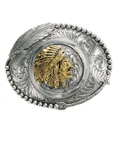 And West Two-Tone Indian Chief Feather Buckle, Gold, hi-res