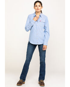 Ariat Women's FR Solid Durastretch Work Shirt, Blue, hi-res