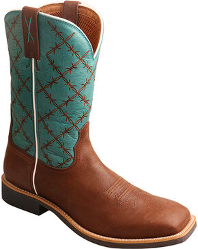 "Twisted X Men's 11"" Top Hand Barbed Wire Cowboy Boots - Square Toe, Brown, hi-res"