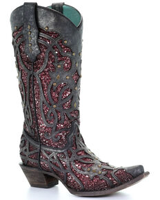 Corral Women's Plum Glitter Inlay Western Boots - Snip Toe, Black, hi-res