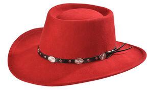 Silverado Women's Crushable Wool Gambler Hat, Red, hi-res