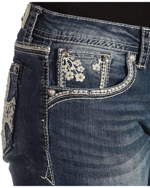 Grace in LA Women's Fleur De Lis Pocket Jeans - Boot Cut , Medium Blue, hi-res