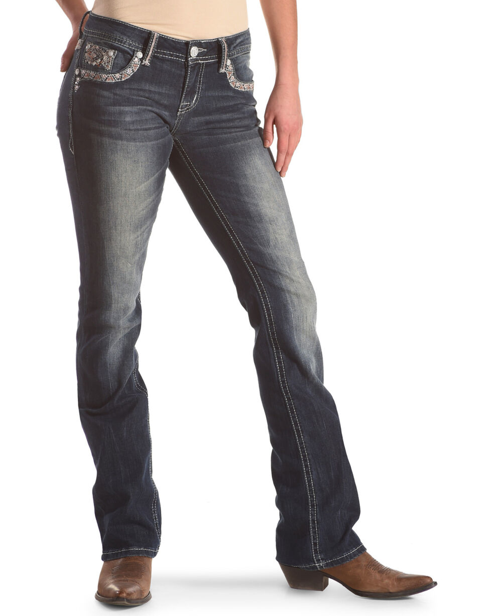 Grace in LA Women's Medium Wash Embroidered Low Rise Boot Cut Jeans, , hi-res