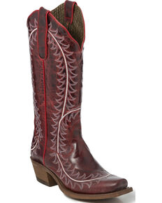 """Nocona Women's 13"""" Red Vail Goat Cowgirl Boots - Square Toe, Red, hi-res"""