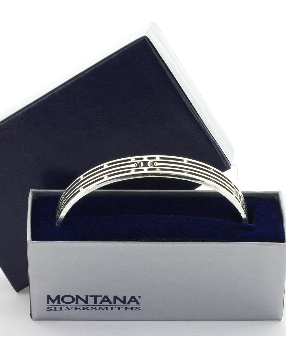 Montana Silversmiths Mirrored Horseshoe Nail Cuff Bracelet , Silver, hi-res