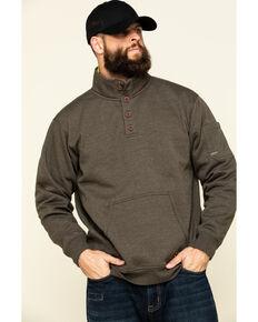 Ariat Men's Wren Heather Rebar Overtime Fleece Work Pullover Sweatshirt - Big , Brown, hi-res