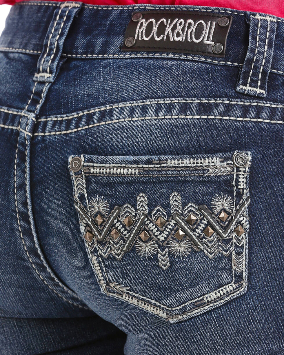 Rock & Roll Cowgirl Girls' Aztec Embroidered Extra Stretch Jeans (4-16) - Skinny, Indigo, hi-res