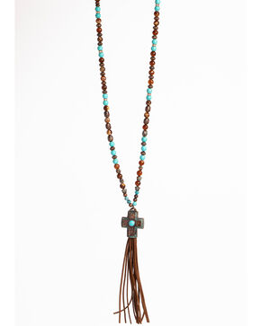 Shyanne Women's La Rosita Beaded Cross Necklace with Tassel , Turquoise, hi-res