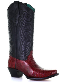 Corral Women's Black Exotic Snake Skin Western Boots - Snip Toe, Black, hi-res