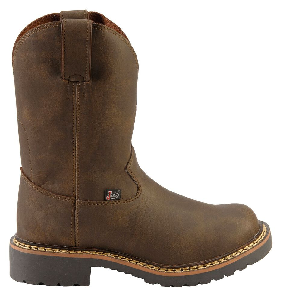 Justin Youth Boys' Work Boots - Round Toe, Brown, hi-res