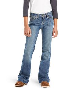 Ariat Girls' R.E.A.L  Medium Wash Eleanor Stretch Trouser Jeans, Blue, hi-res