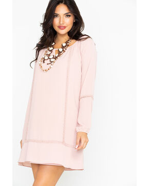 Wrangler Women's Blush Peasant Tunic Keyhole Ladder Lace Dress, Blush, hi-res