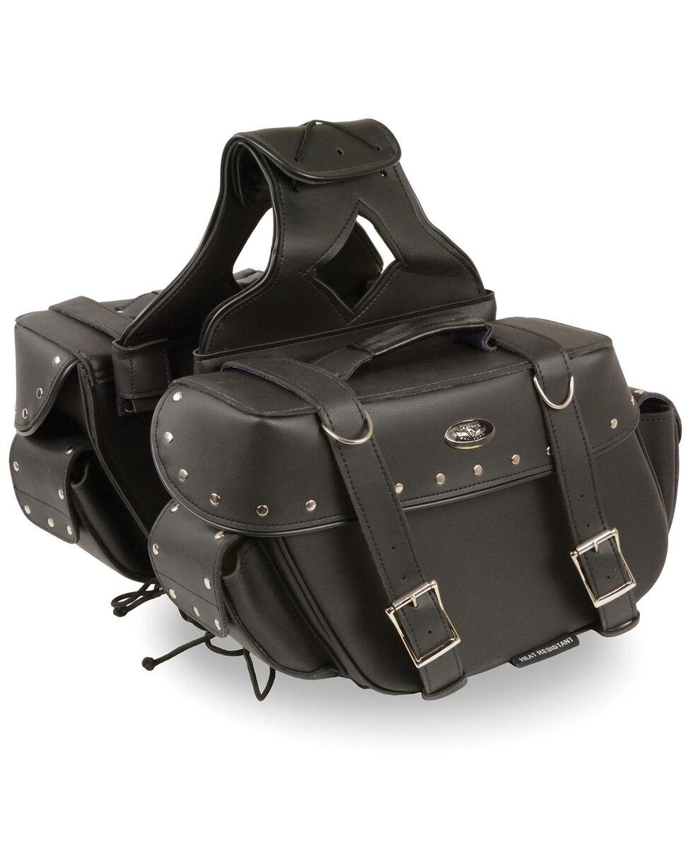Milwaukee Leather Medium Zip-Off Throw Over Riveted Saddle Bag, Black, hi-res