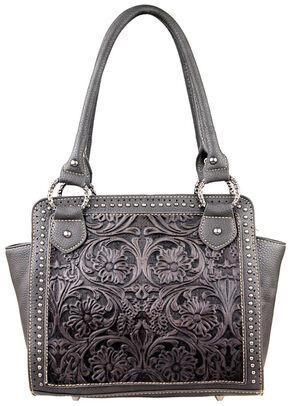 Montana West Trinity Ranch Black Tooled Design Handbag, Black, hi-res