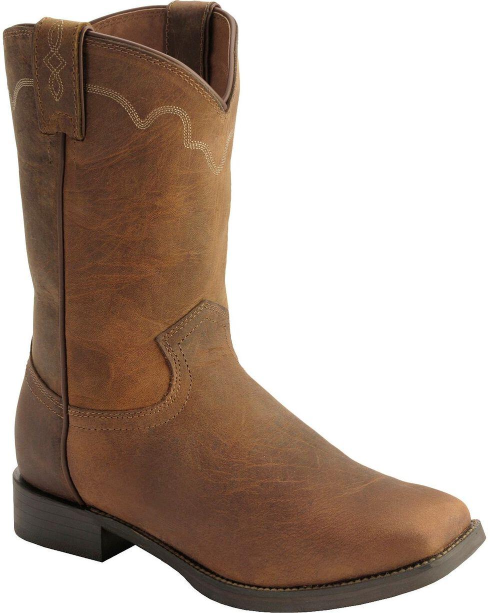 Justin Stampede Roper Cowboy Boots - Square Toe, Tan, hi-res